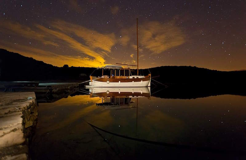Legenda, boat, island of ivs, croatia, stars